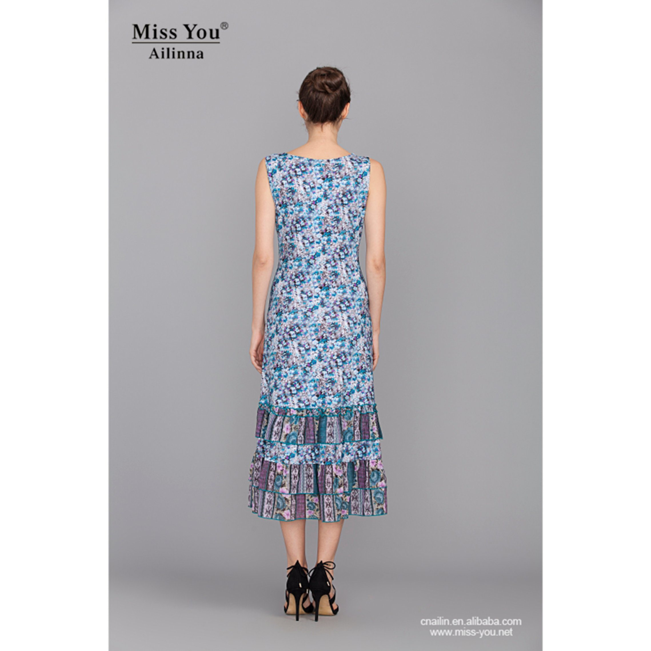Miss You Ailinna 100938-1 Dress Distributor Blue Floral Slip Dress New Design Beach Dress