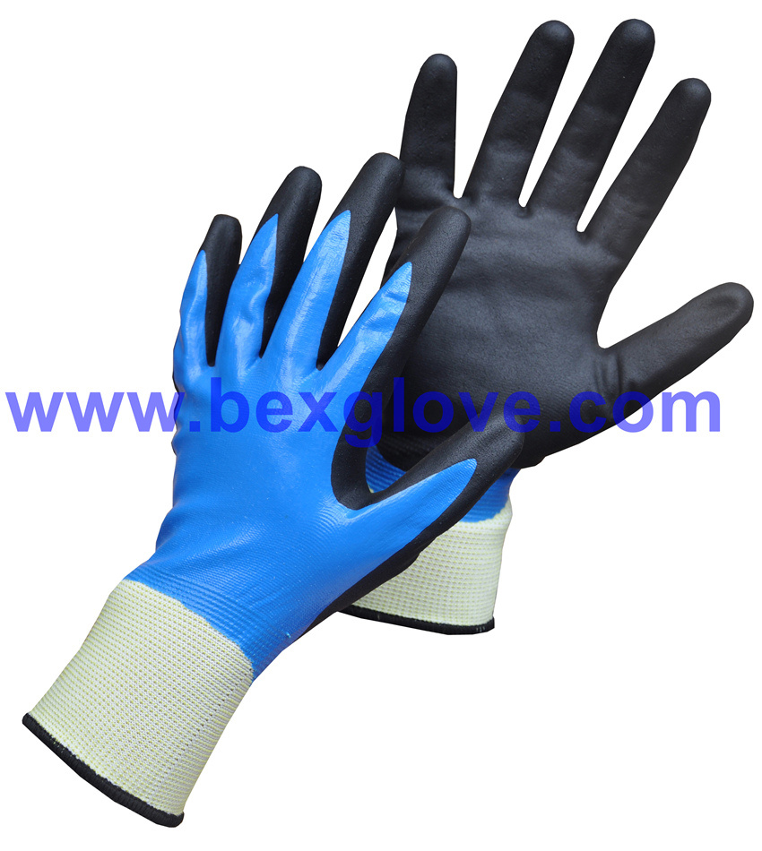 13 Gauge Nylon Liner, Nitrile Coating, Double Coated, Micro-Foam Finish Work Glove