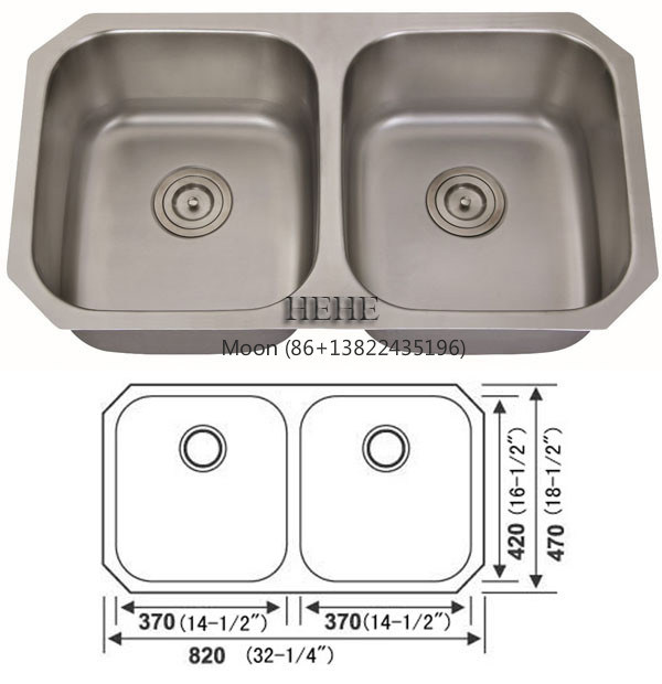50/50 Double Bowl Stainless Steel Undermount Sink for Kitchen with Cupc Certificate