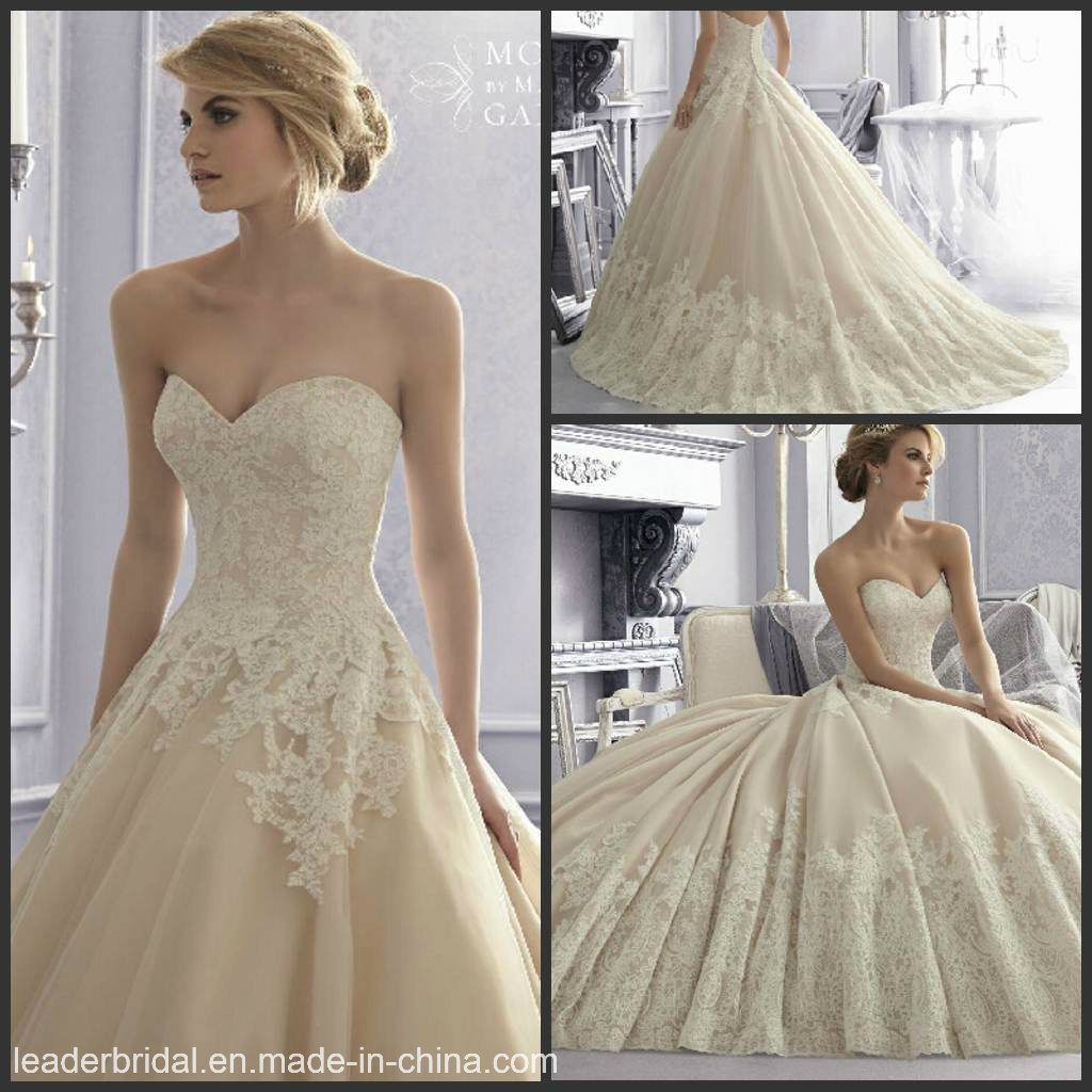 China Sweetheart Ball Gown Cream Lace Tulle Bridal Wedding