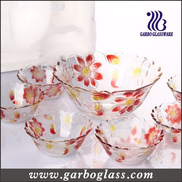 Colors Engraved Flowers Glass Bowl Set - Daisy /7PCS Bowl Set, Polyform Package