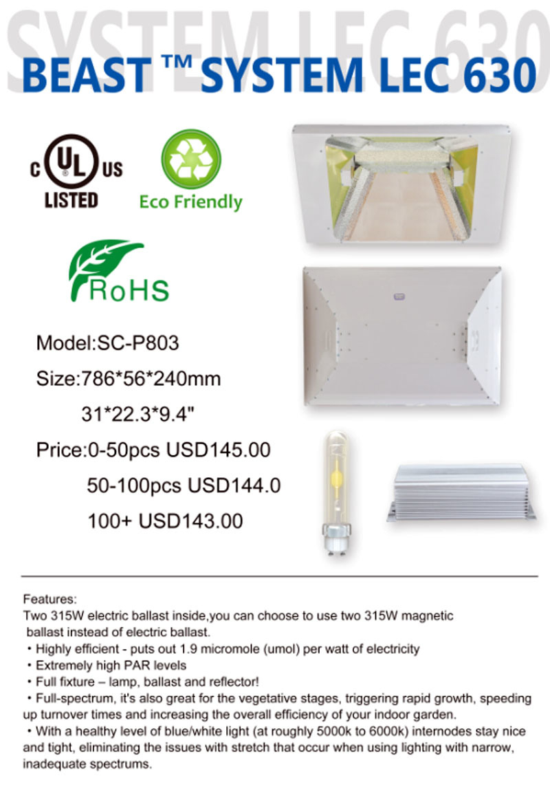 Hot Sales Powerful 630W Grow Light