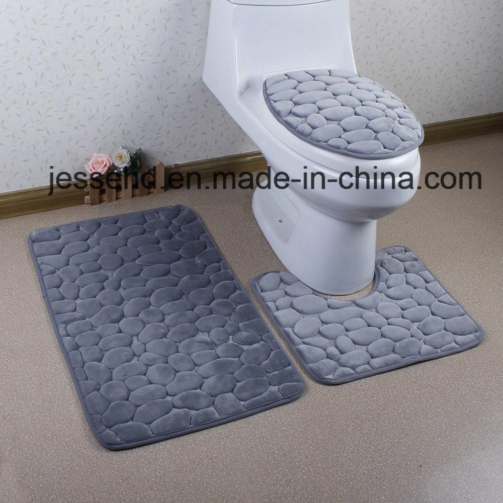 3D Embossed Anti Slip and Washable Bathroom Floor Mat Set 3PCS