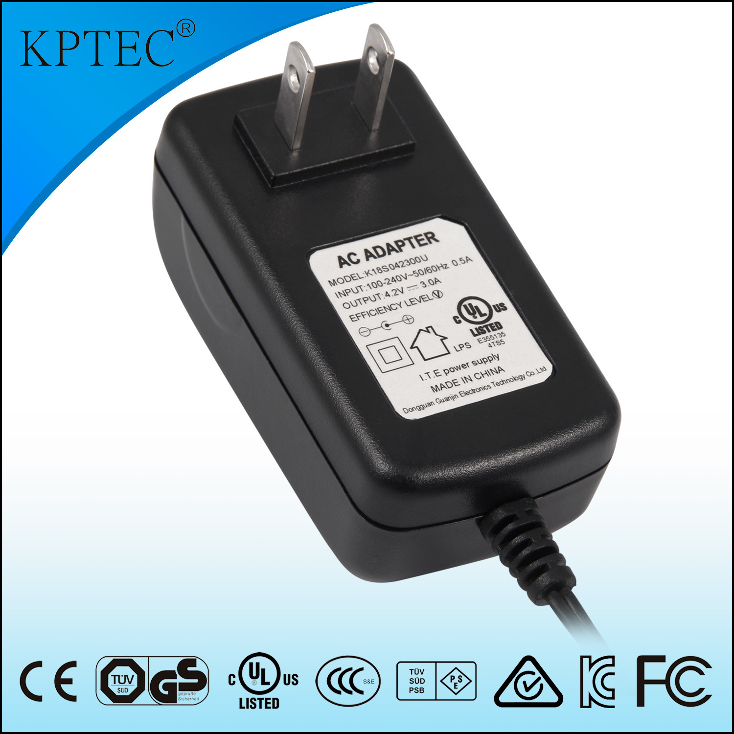 18W 10V 1.8A Power Adapter with USA Standard Plug
