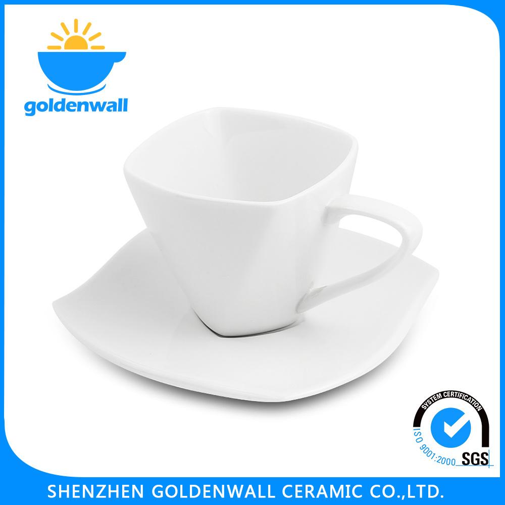 Customized Logo 80ml White Porcelain Coffee Mug with Saucer