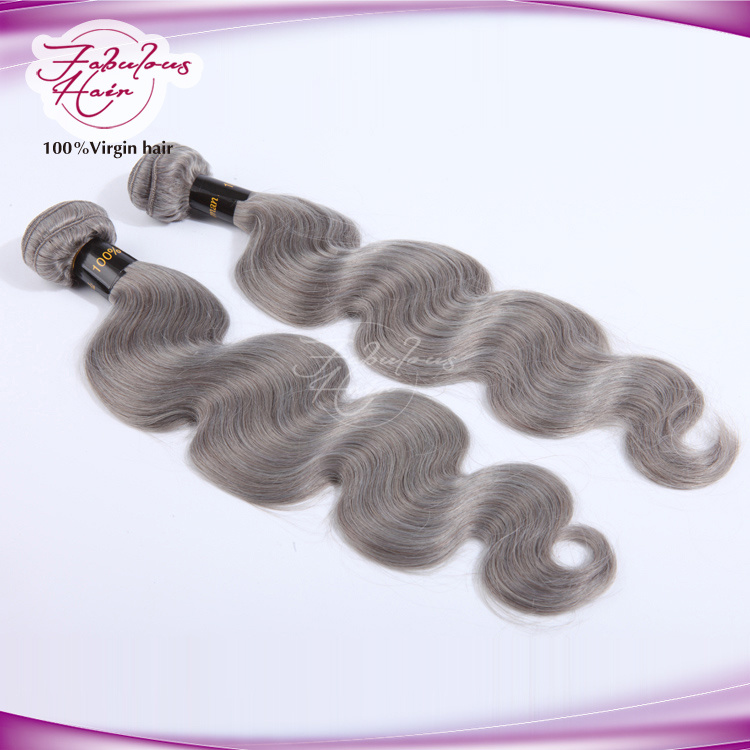 No Bad Smell Silver Color Body Wave Brazilian Grey Remy Hair