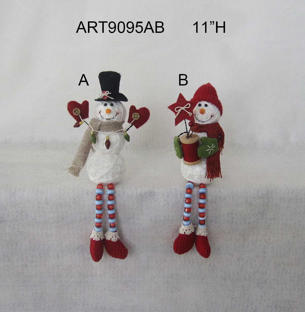 "11""H Button+Bead Legged Yarn Ball Snowman Decoration Gift-2asst."