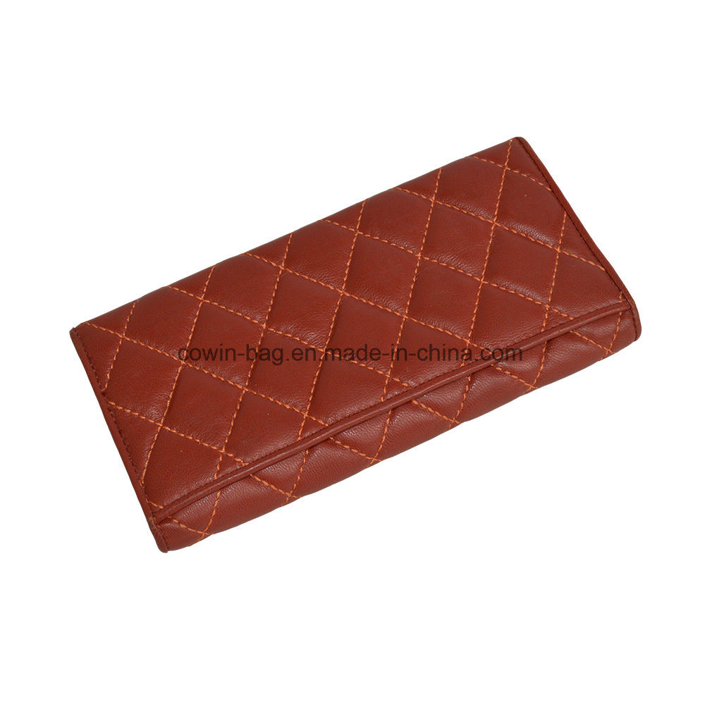 Qulited Soft Split Leather Made High Quality Wallet/Clutch/Purse