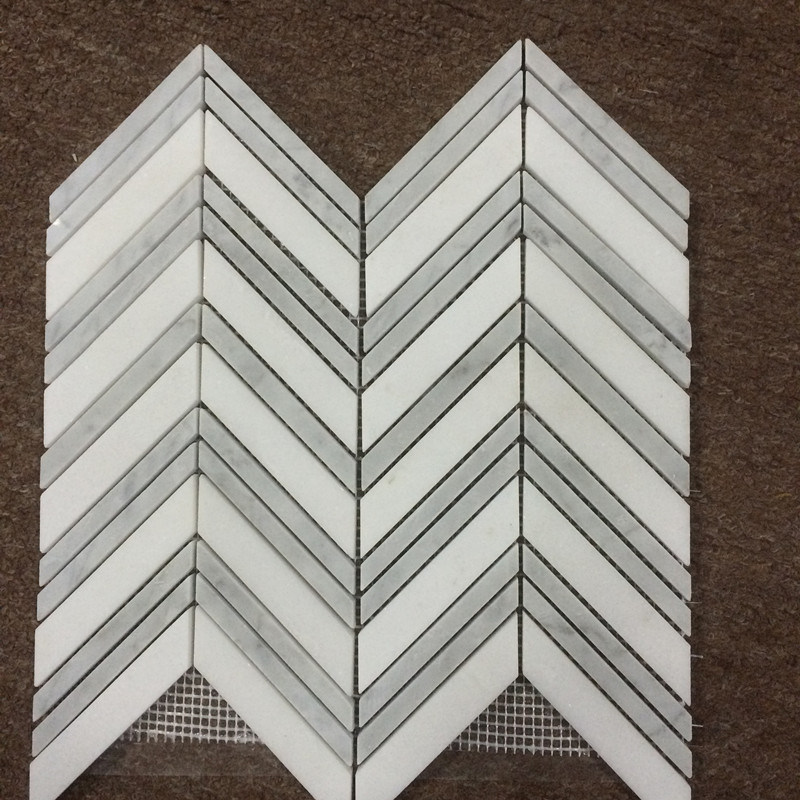 2016 Hot Sale Carrara White Marble Fishbone Mosaic Polished Wall Tile