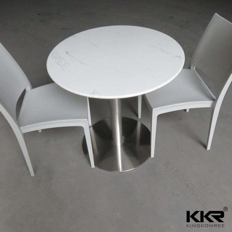 Cheap Solid Surface Round Marble Top Dining Table