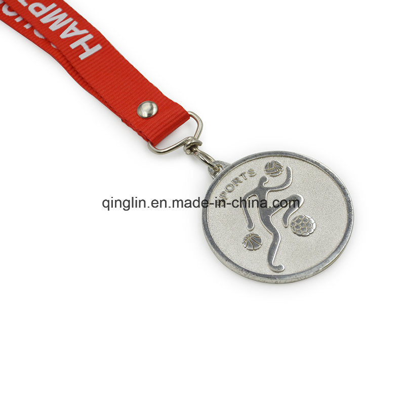 Custom Silvery Plating Children Competition Ribbon Medals