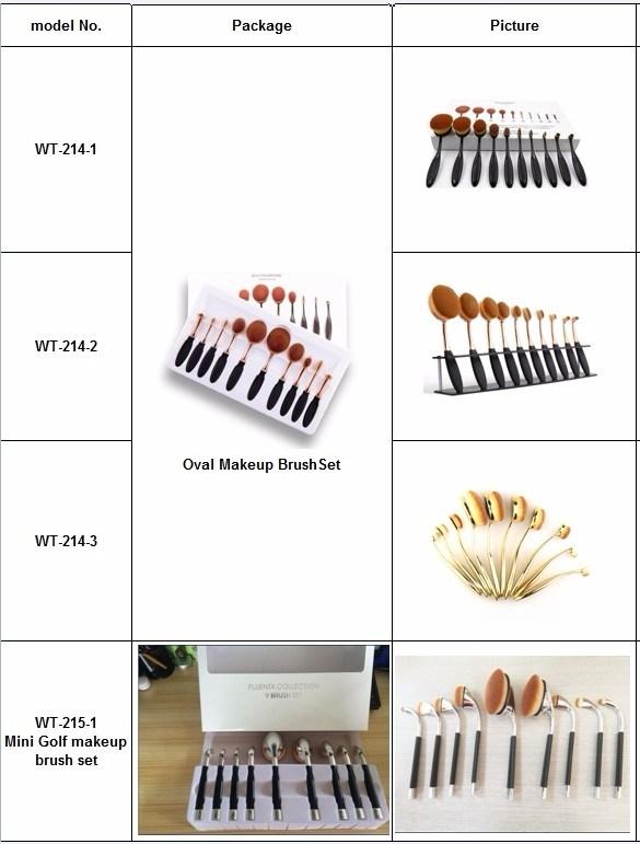 Rainbow Color Toothbrush Shape Makeup Tool Kits 10PCS Oval Brush