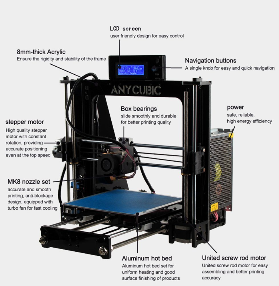 3D Printer Kit 210X 210 X 205mm Build Dimensions 50 Micron 1.75mm PLA Filament