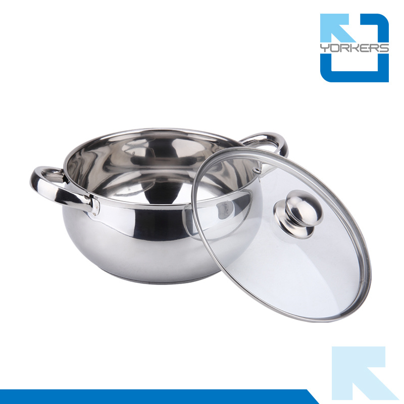 20cm Cheap Stainless Steel Double Handles Soup Pot Kitchenware