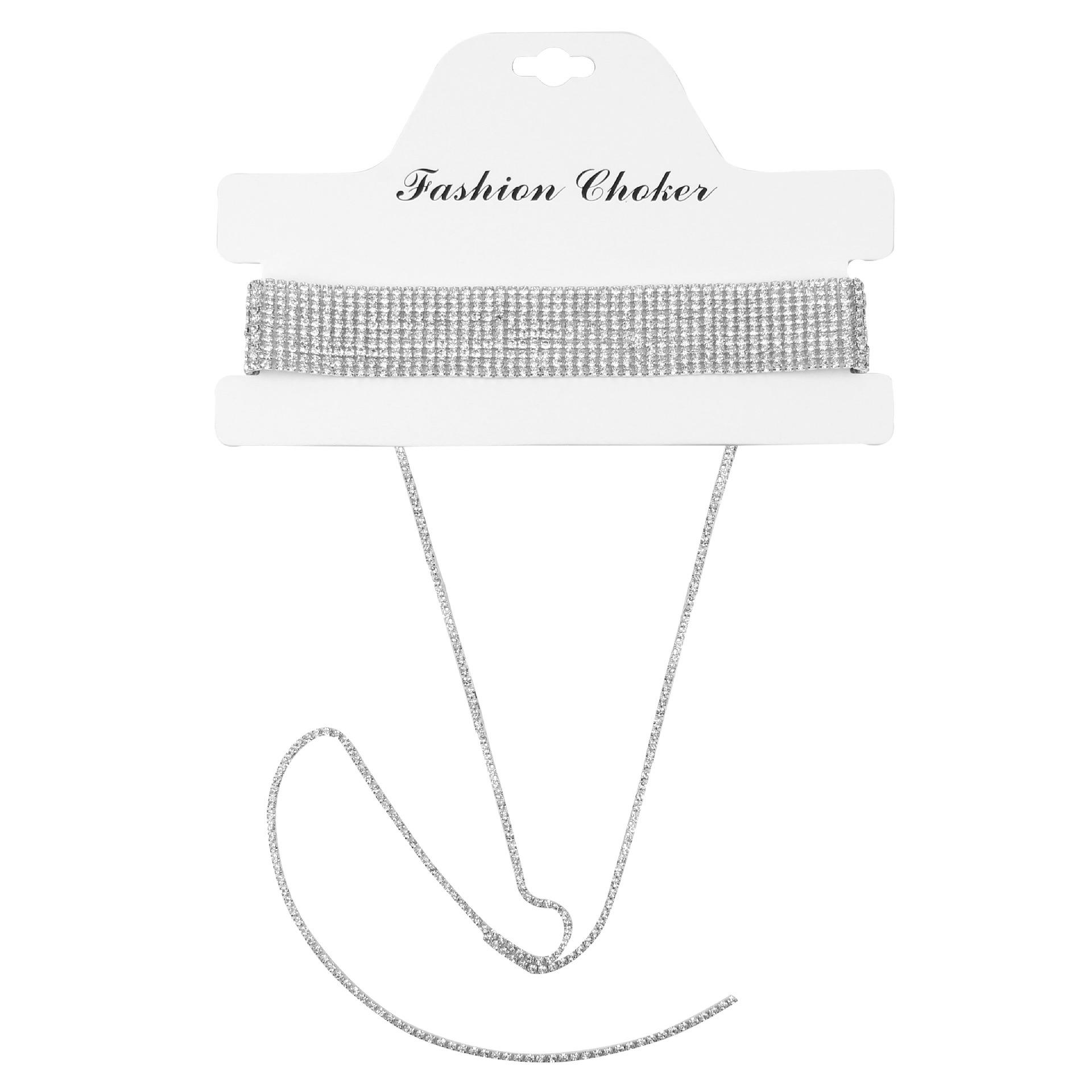 Fashion Luxury Glittering Full Rhinestone Multi Layer Diamond Choker Necklace Jewelry