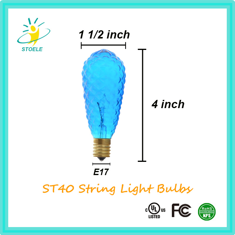 St40 Multiple Color Incandescent Bulbs String Lighting Christmas Bulb