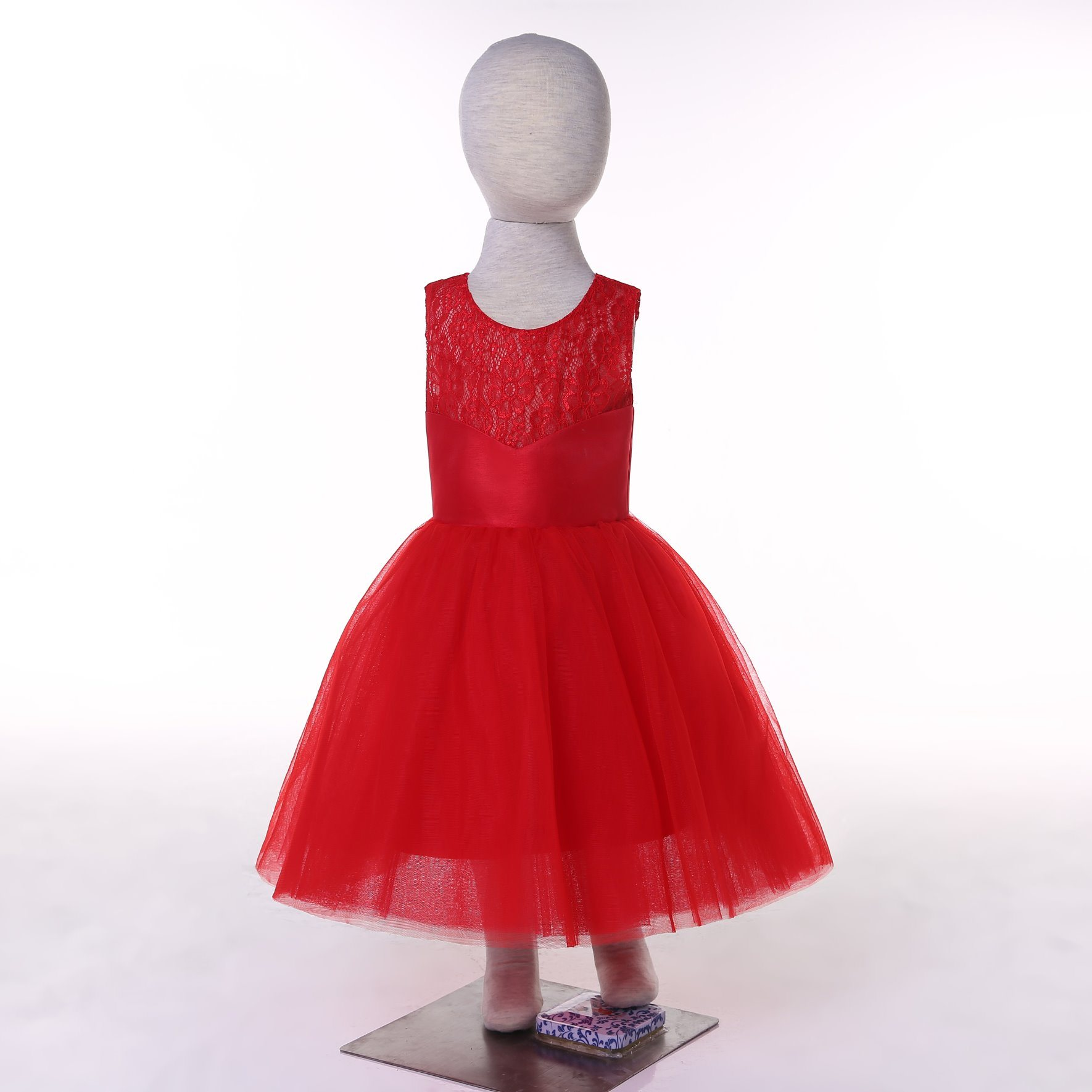 Satin Tulle Red/White/Ivory/Turquoise Flower Girl Dress