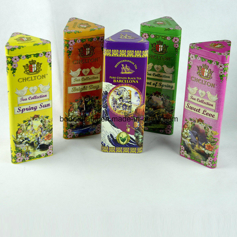 Custom Pyramid Shape Metal Tea Tin Box with Food Grade Varnish