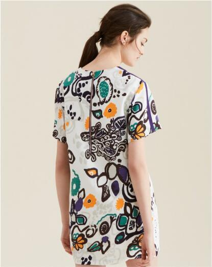 Summer Fashion Latest Printed Jacquard Scrawl Short Sleeve Women′s Dress