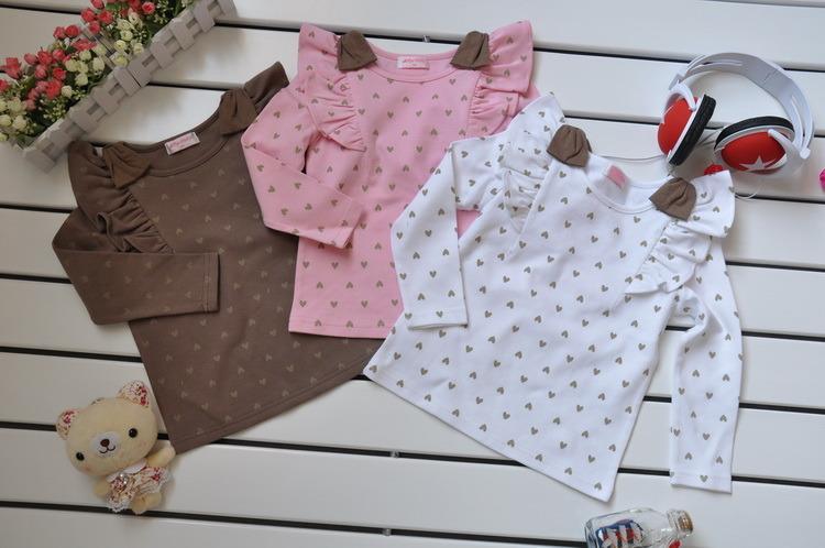 Girls′ Long Sleeve Cotton T-Shirt