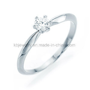 Diamond Ring 925 Silver Jewelry 4mm CZ Six Prongs Ring (R1911)