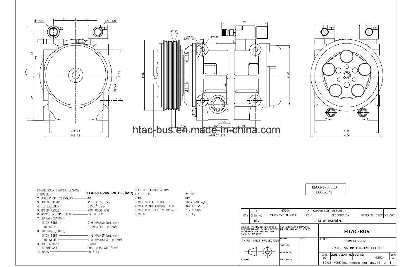Bus Air Conditioner Dks 32 Compressor 8pk Clutch 12V