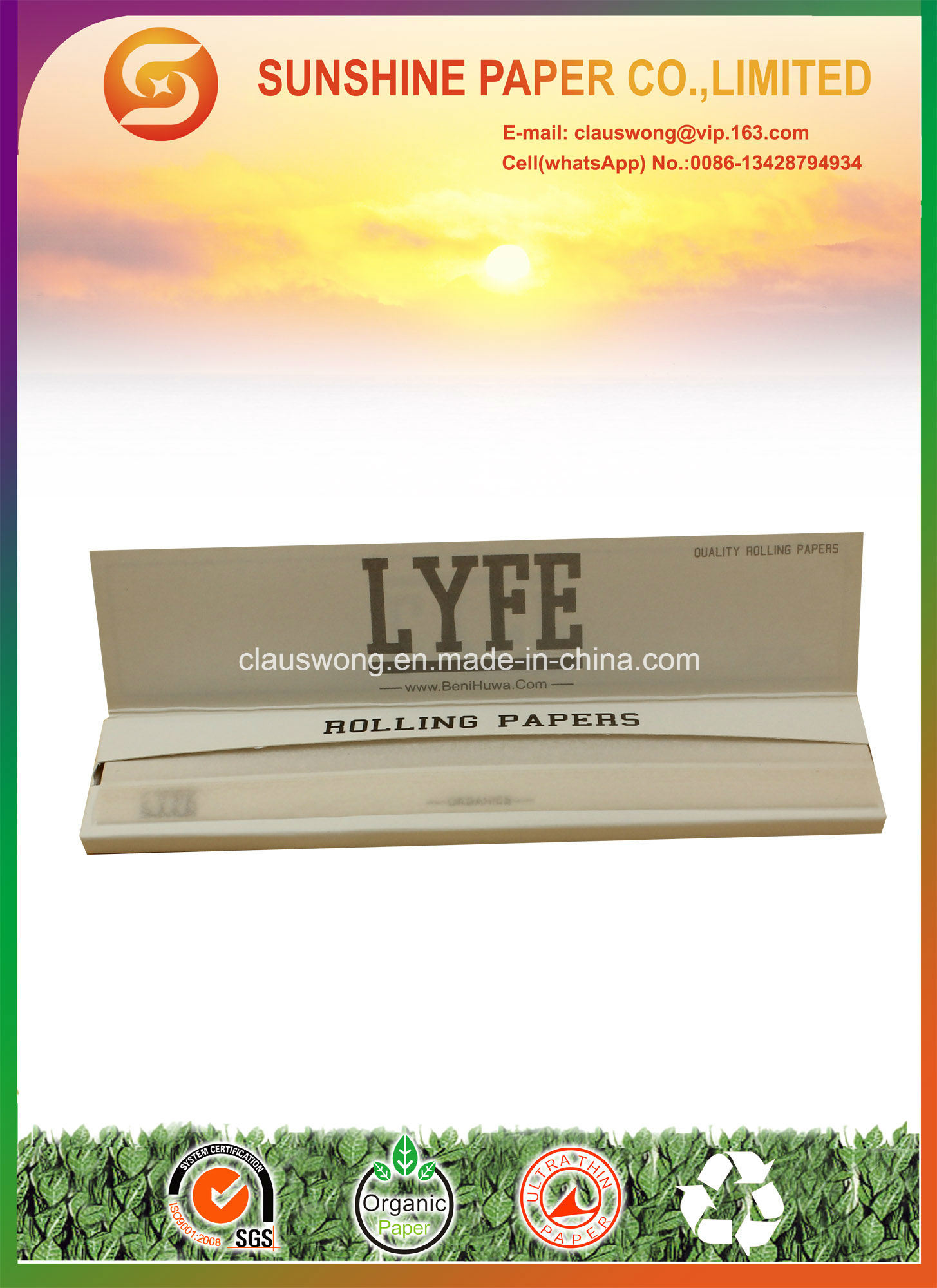 King Slim Size with 13GSM 100% Hemp Paper