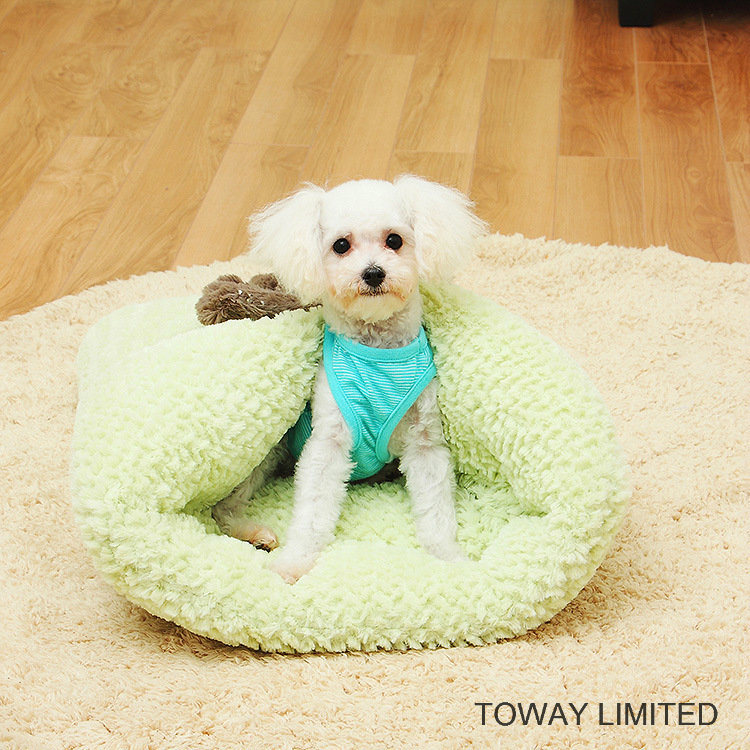 Snowflake Bowtie Dog Mattress Cushion Coral Fleece Pet Sleeping Beds
