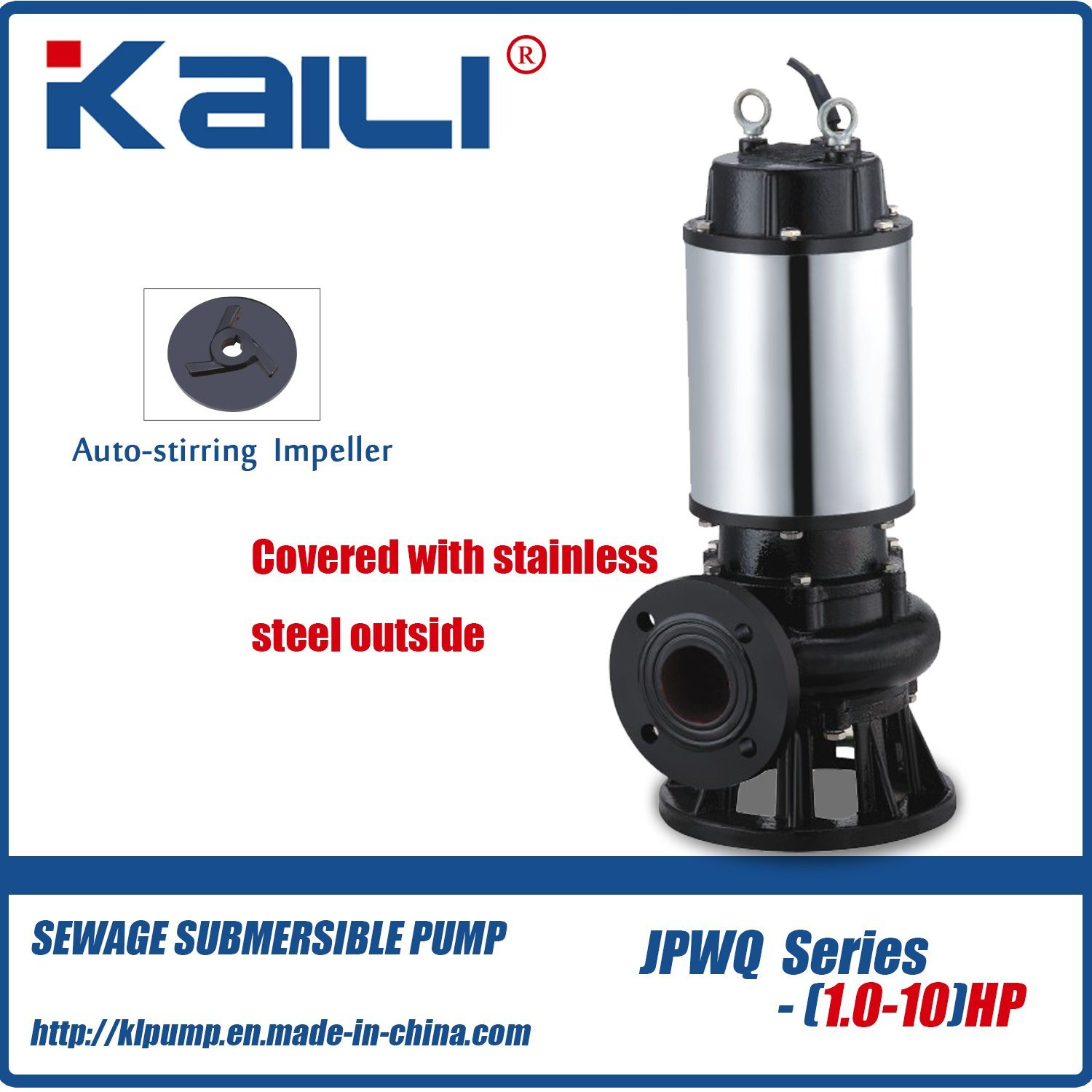 Integral Stainless Steel JYWQ Auto-stirring Sewage Submersible Pump for Dirty Water