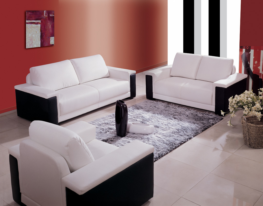 China black and white color leather sofa es8029 china - Cojines para sofa blanco piel ...