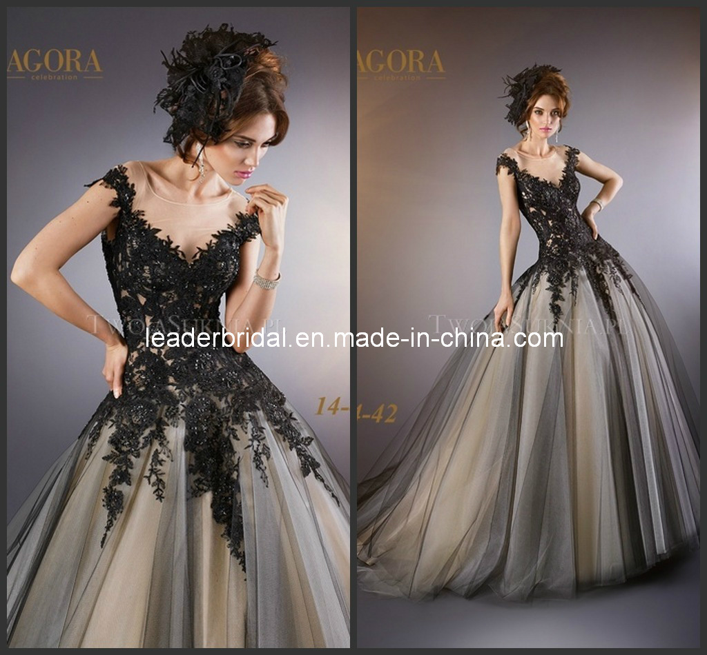 China cap sleeves nude tulle black lace bodice bridal ball for Black tulle wedding dress