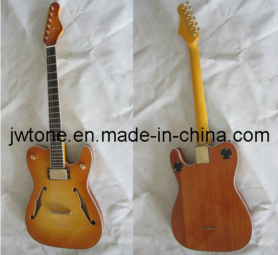 Double F Hole String Through Body Tele Electric Guitar