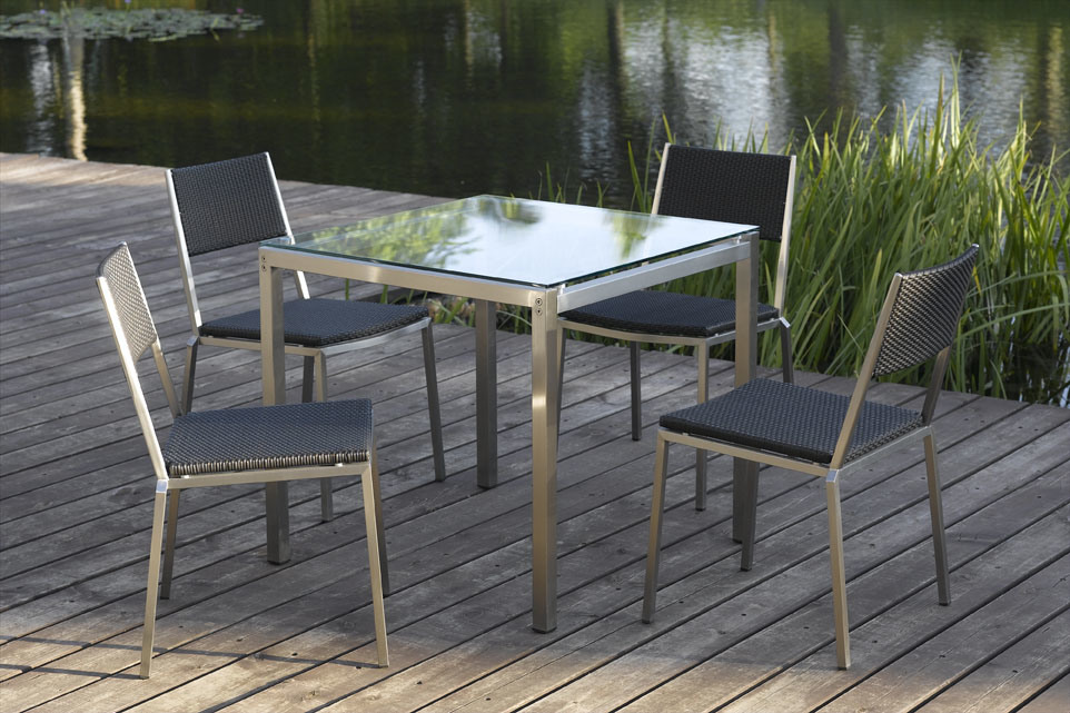 China outdoor furniture stainless steel vigo dining set for Steel outdoor furniture