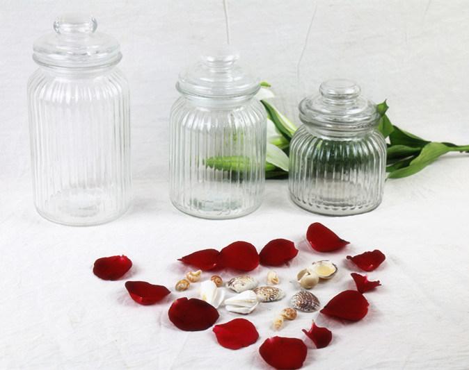Ribbed Glass Candy Jar Storage Jar with Glass Lid