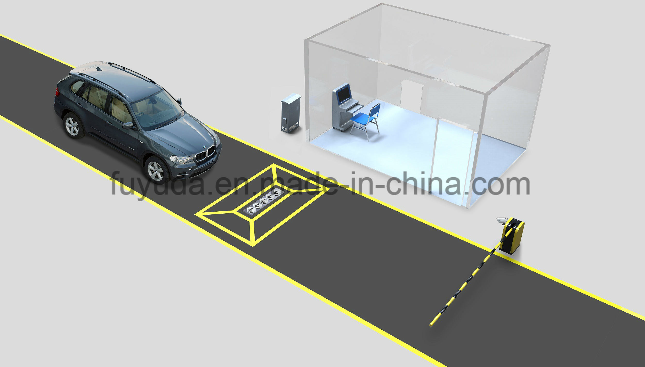 Fixed Waterproof IP67 Under Vehicle Video Surveillance System with High Resolution Scanning Camera