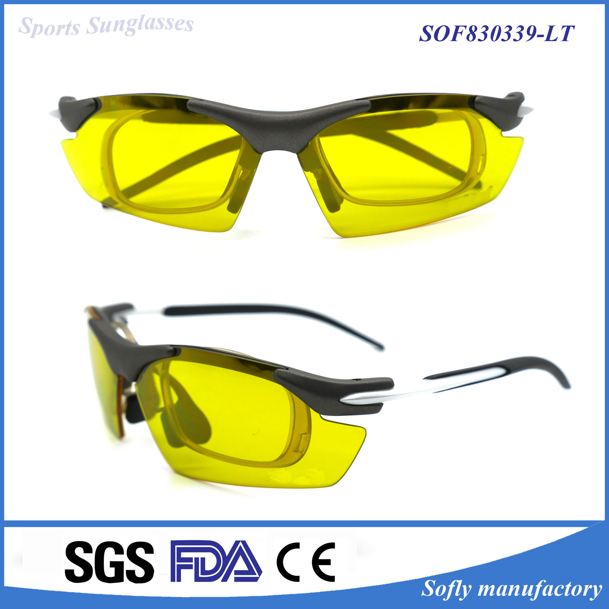 Men′s Riding Cycling Prescription Sports Sun Glasses with Optical Insert Lens