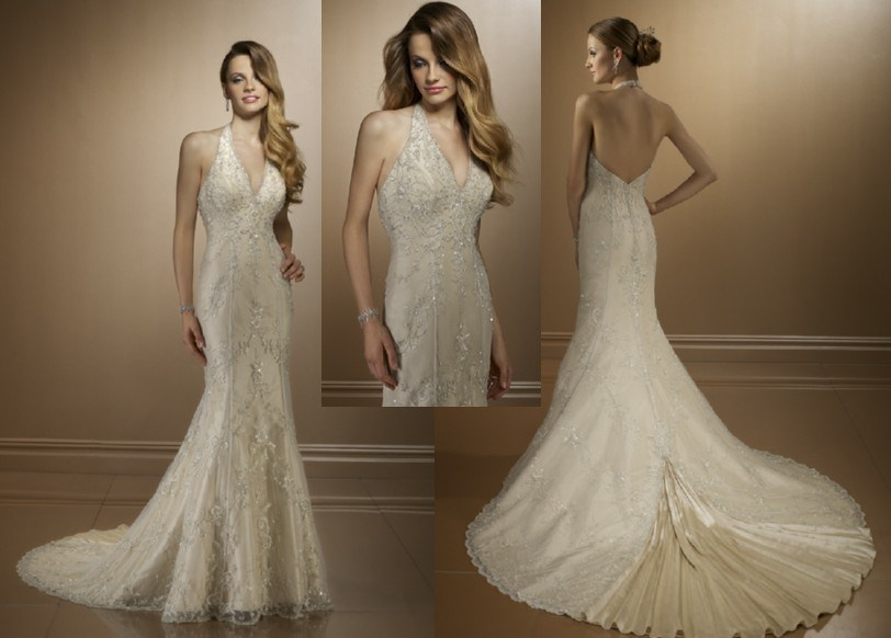 China mermaid halter top appliqued beaded wedding dresses for Mermaid halter wedding dresses