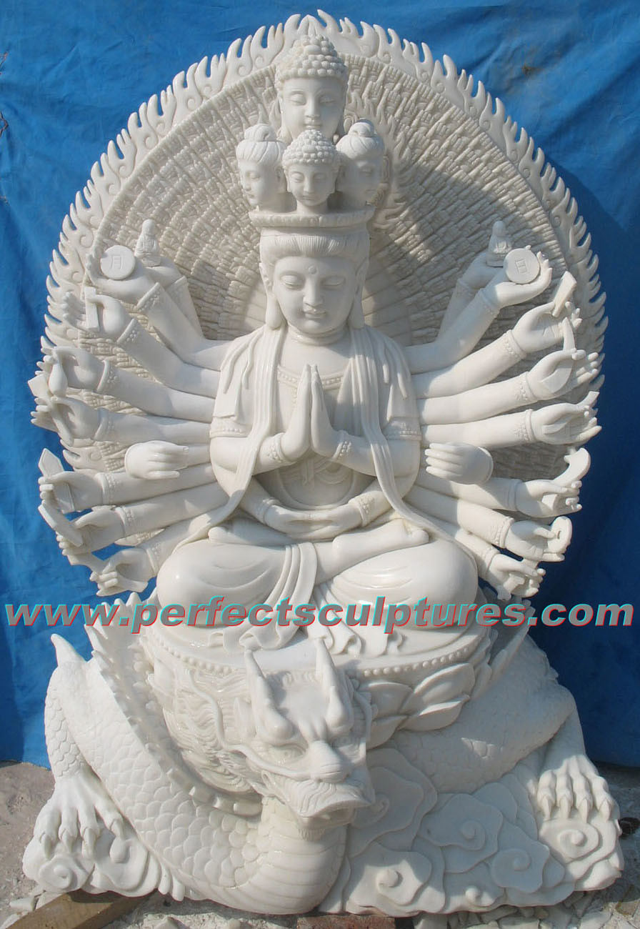 Stone Marble Buddha Statue Kwan Yin for Feng Shui (SY-T142)