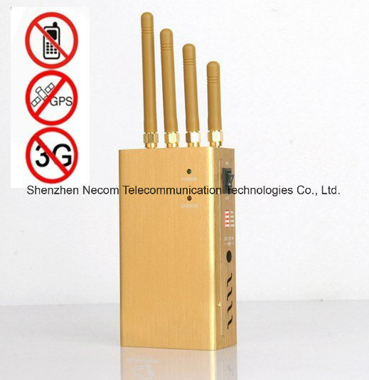 Signal Jammer 10 Meters , China Powerful Golden Color Portable Four Band Cell Phone & Wi-Fi & GPS Jammer - China GPS Jammer, Jammer