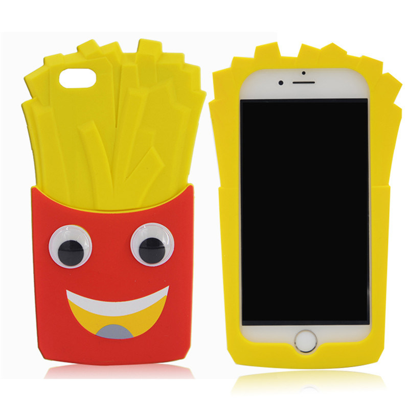 3D Chips French Fries Silicone Phone Case for Samsung Galaxy S6 S6edge S5 Se 5s (XSF-025)