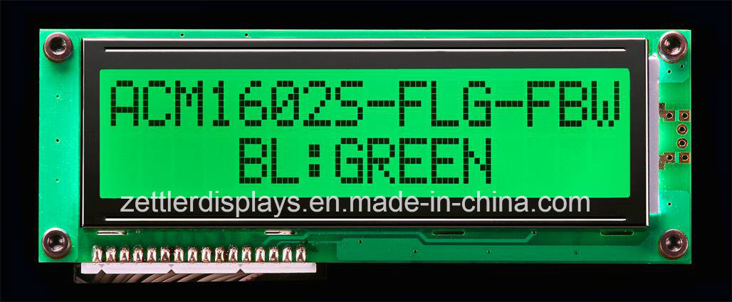 FSTN Positive 16 X 2 Character LCD Module with Green LED Backlight: Acm1602s-Flg-Fbw