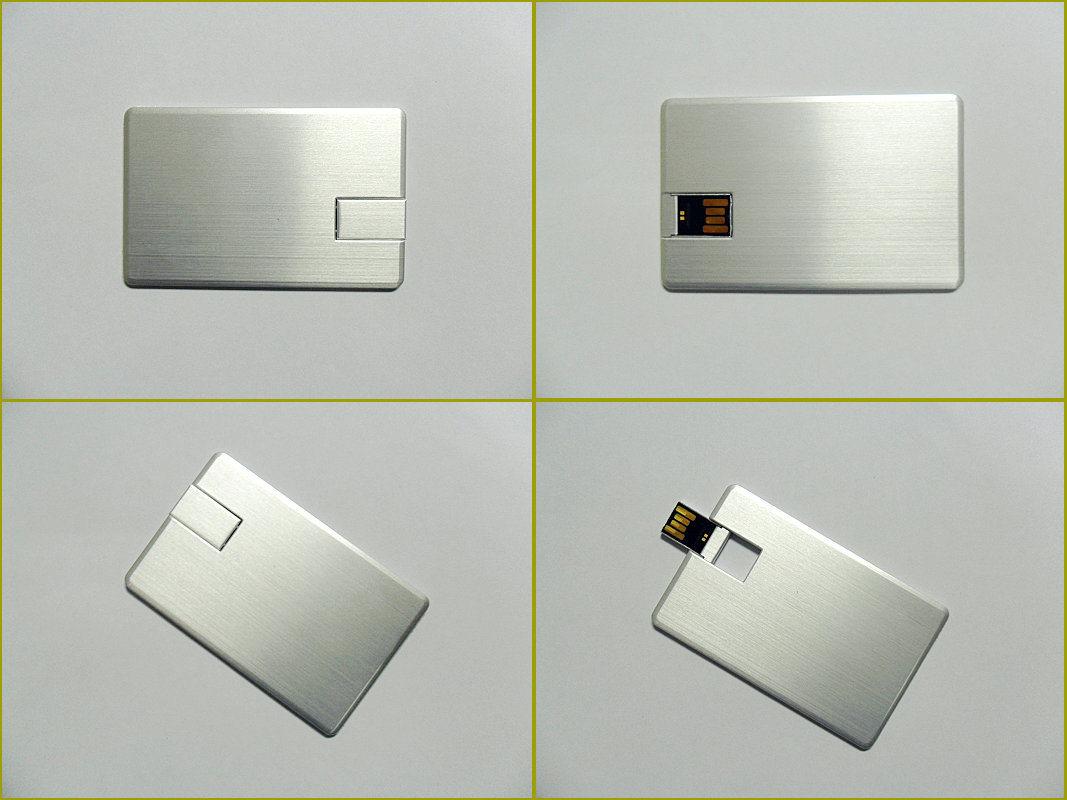 High Quanlity Aluminum Wafer Credit Card USB Pen Drive in 8GB, 16GB, 32GB