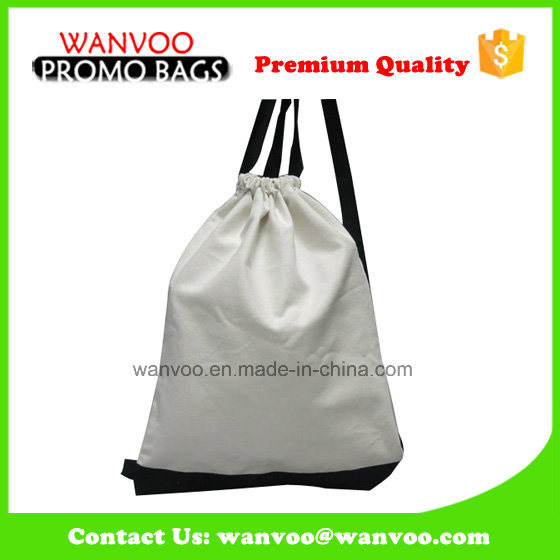 Polyester White Drawstring Pouch Backpack Plastic Shoe Bag Custom Acceptable