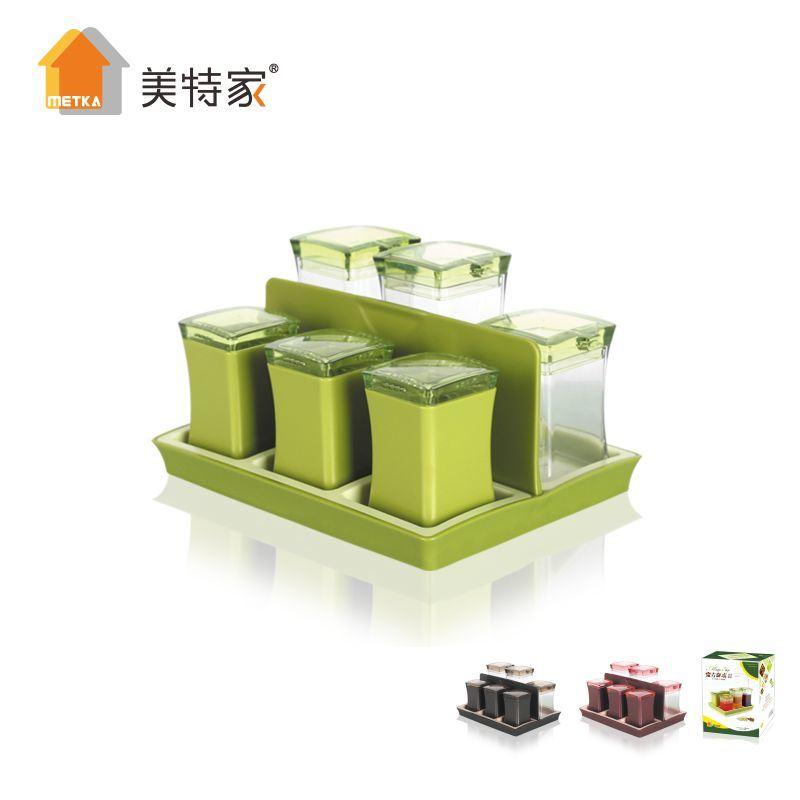 6480 Metka Kitchen Supplies New Product Plastic Square Cruet 6 Cans