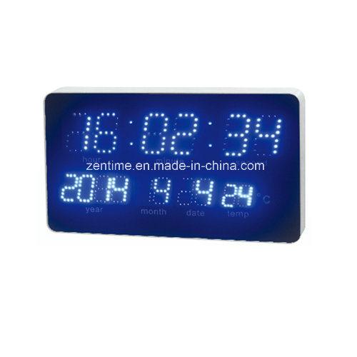 Electric Blue LED Digital Temperature Display Wall Calendar Clock