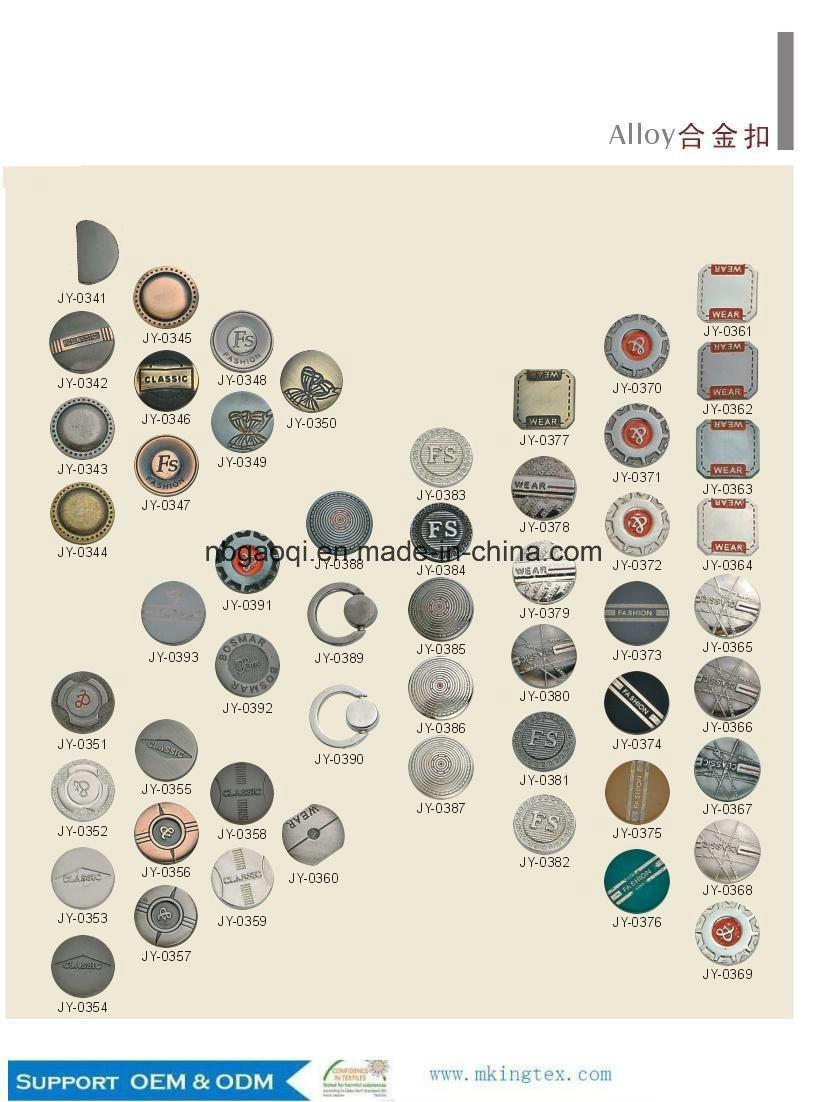 Zinc Alloy Shank Logo Button/Custom Metal Sew Button for Jeans