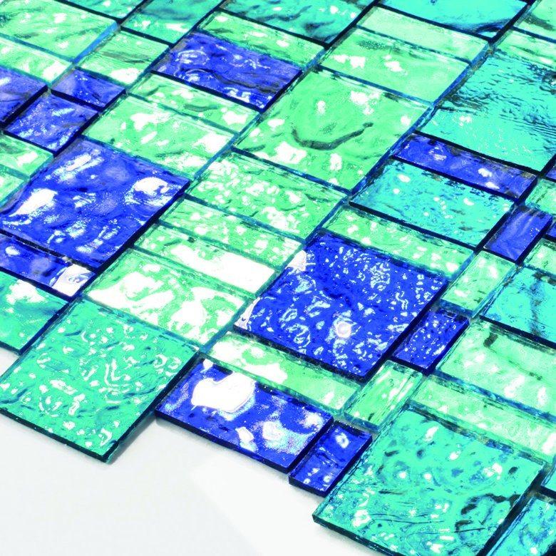 Bathroom Blue Polished Crystal Floor Tiles Shiny Glass Mosaic