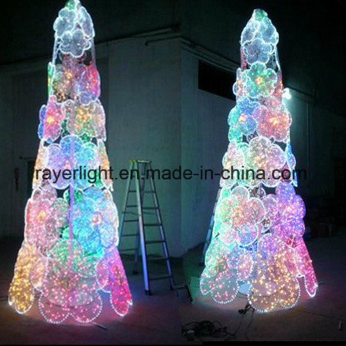 Customized Outdoor Christmas LED Tree with Flower Decoration