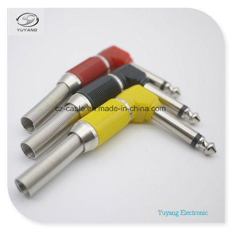6.35mm/6.35 (1/4 inch) Mono Plug/Adapter Metal, Right Angle for Microphone/Speaker/Audio Cable