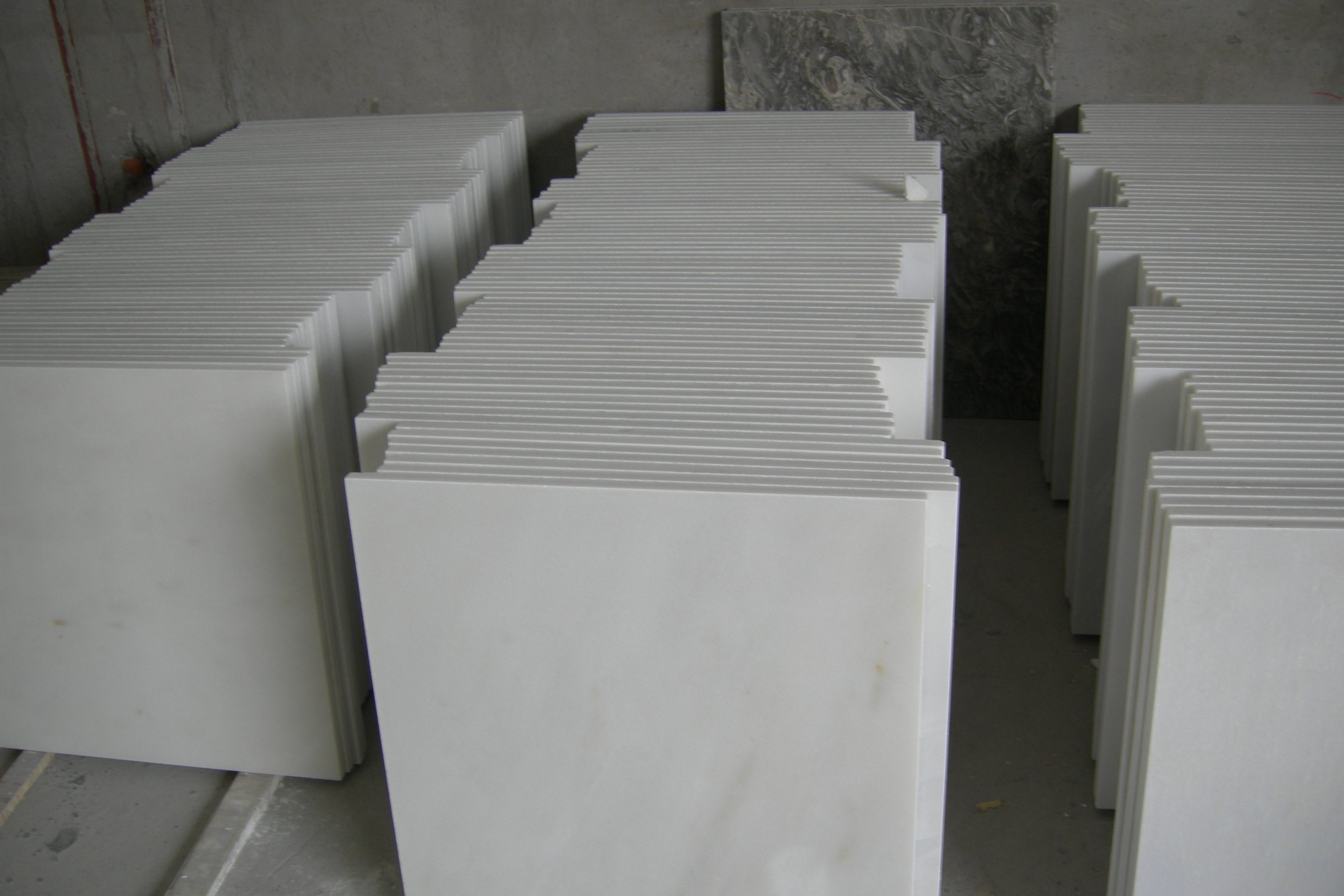 Chinese Pure White Marble Polished Tiles 60X60X1.8cm